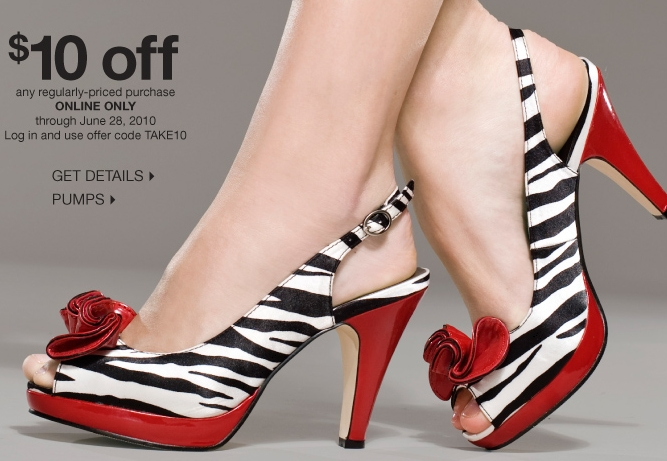 35ba45442a6 DSW has  10 off a  10 or more purchase of regular priced shoes this week.  You can use promo code  TAKE10 at checkout. Click HERE to have a look.
