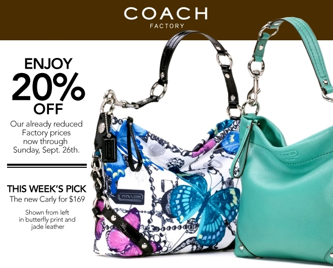 factory outlet coach store e3if  There is a new 20% off Coach coupon for the Factory Outlet stores The  coupon is valid through 9/26 You can find a Coach location near you here