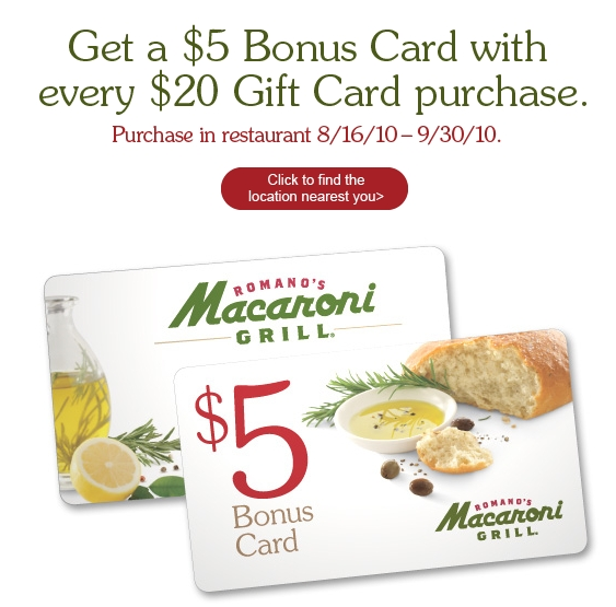 Macaroni Grill is not a participating partner or sponsor in this offer and CardCash does not issue gift cards on behalf of Macaroni Grill. CardCash enables consumers to buy, sell, and trade their unwanted Macaroni Grill gift cards at a discount.