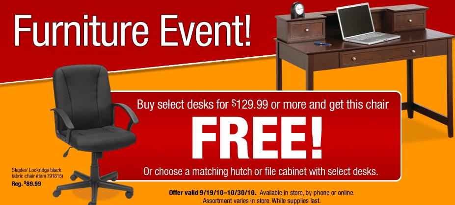 Staples Free Furniture With Purchase Of Desk My Frugal Adventures