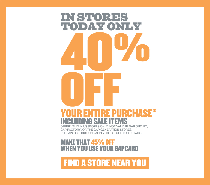 Gap: 40% off Sale Today Only - My Frugal Adventures