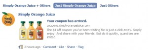 """–> Simply Orange Juice $ off Printable Coupon – Nice! Find more printable coupons here. """"Redeemable at Walmart"""" on coupons – What exactly does that mean?Click here to find out!"""