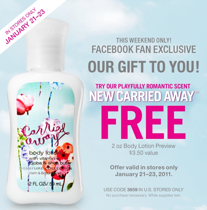 a new coupon on Facebook for a free Carried Away lotion in 2oz size.