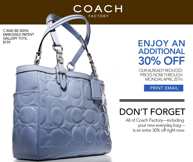 Coach Outlet 30% off Coupon - My Frugal Adventures