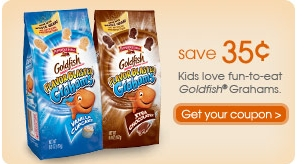 image regarding Goldfish Printable Coupons titled Goldfish $.35/1 Printable Coupon - My Frugal Adventures