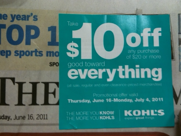 Kohls in store discount coupons