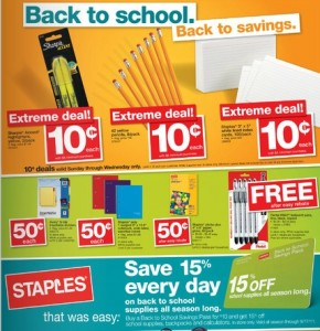 Get ready for back to school savings in June! Starting this Sunday, June 24th, Staples will be offering a few school supply deals! Note that some of these items are limited to a certain number per customer and/or are available in-store only so be sure to check your local ad .