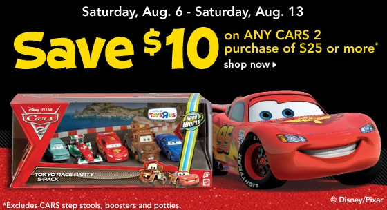 Toys R Us 10 Off A 25 Cars 2 Purchase Includes Backpacks My
