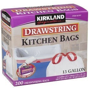 by Kirkland Signature Trash Bags. $ $ 34 99 Prime. FREE Shipping on eligible orders. More Buying Choices. $ (13 new offers) Product Features Drawstring Trash Bags. Kirkland Signature 10 Gallon Clear Wastebasket Liners Bags count. by Kirkland Signature. $ $ 20 97 Prime.