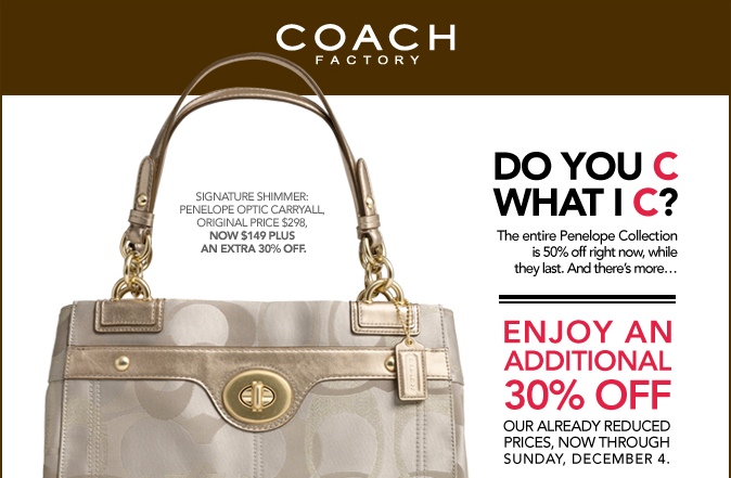 Coach Outlet Coupon 30% off (expires 12/4) - My Frugal ...