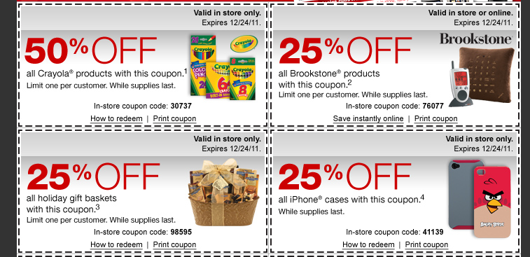 staples coupons 50 off crayola 25 off holiday gift baskets and