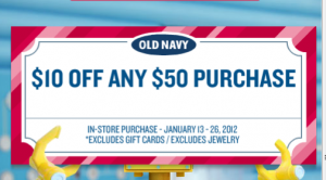 Old Navy is offering up to 50% off sitewide, plus get an additional 20% off when you apply the promo code at checkout. Valid through December 4. Print Coupon Printable Coupon Expires 12/04/18 Used times today. $10 Super Cash for Every $25 Spent. Valid when you use your Old Navy credit card.