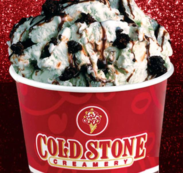 Highlights for Cold Stone Creamery. Cold Stone Creamery is a beacon of hope to all who search for creamy, not too soft and not too hard ice cream. The name comes from the frozen stone slabs upon which the server blends your choice of ice cream flavor with mix-ins like fruits, nuts and candies.