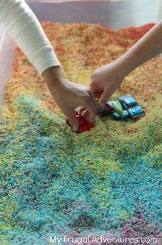 DIY colored rice- perfect alternative to sand!