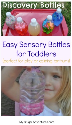 Easy Sensory Bottles for Toddlers- lots of ideas to make these bottles with what you have on hand. Perfect for playtime, bath time or to help calm an upset child.