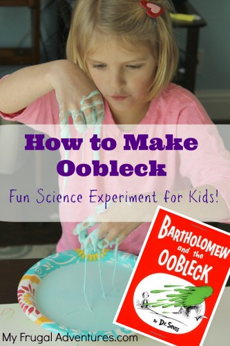 How to Make Oobleck - a fun science experiment for kids!  Goes along with the silly Dr Seuss book Bartholomew & the Oobleck