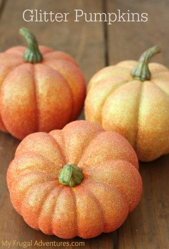 Easy DIY glittered pumpkins