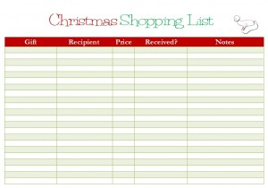 Free Printable: Christmas Shopping List - My Frugal Adventures
