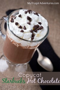 copycat Starbucks hot chocolate recipe- this is so simple and the best hot chocolate you will try!