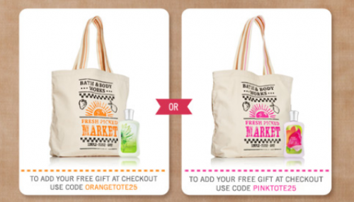 Bath And Body Works 2 Free Tote Bags Lotion With