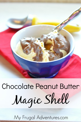 Chocolate Peanut Butter Magic Shell Recipe.  This stuff is amazing!