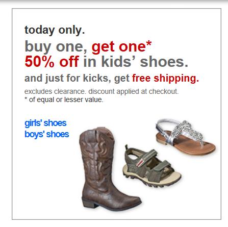 Target: Buy One Get One 50% Off Kid's