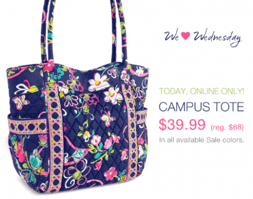 2fda96e2e676 There is a really good deal today at Vera Bradley for the Campus Tote. You  can get it for  39.99 from  68. This is a nice roomy bag with 2 outside  pockets.