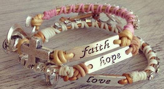 Hand Crafted Faith Love Hope Bracelets