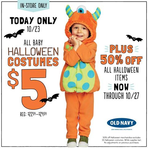 Old Navy: $5 Halloween Costumes (10/23 Only)