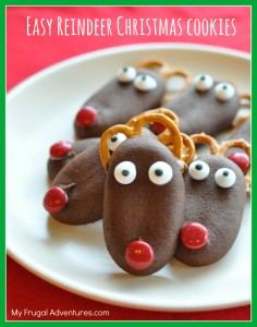 Easy Reindeer Christmas Cookies- so fun for kids and very quick to assemble.