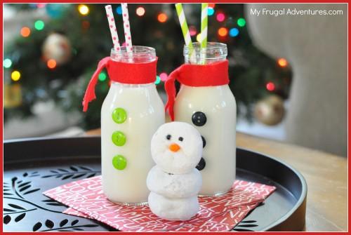 Easy Homemade Snowman Milk Bottles