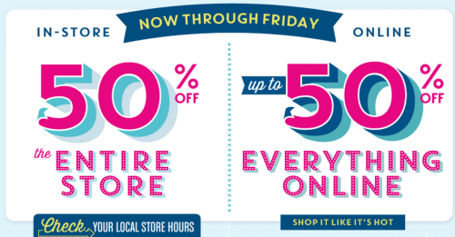 If you are headed out, save 50% off the entire store at Old Navy. If ...