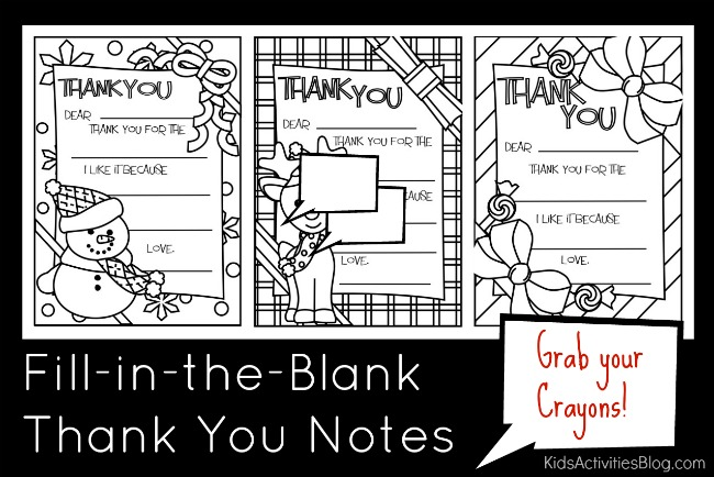 Fill in the blank thank you notes title · coloring sheet