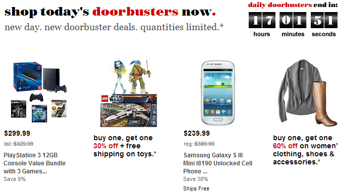 There are several doorbuster deals at Target today . The sale is