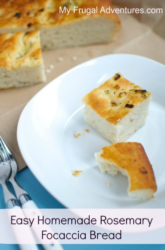 Easy Homemade Rosemary Focaccia Bread- perfect semi-homemade addition to any meal or wrap it up for a welcome hostess gift.