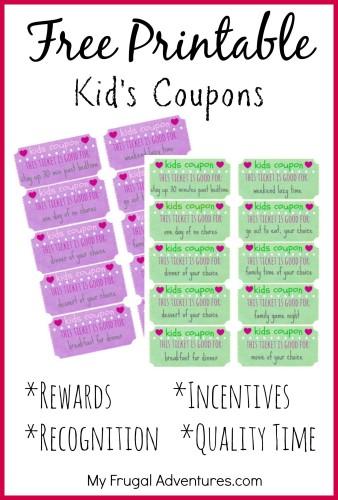 Free Printable Kids Coupons- perfect way to recognize and reward good behavior!