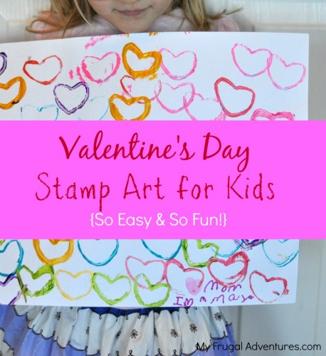 Valentine's Day Stamp Art for Kids- use items you already have to create little works of art! Perfect for non- crafters because this is so simple to do!