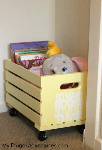 Easy DIY Rolling Toy Crate - perfect storage solution for books, toys, clothes and more! Rolls right into the closet for easy pick up.