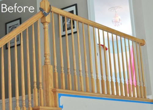 How to Paint Stair Railings- budget friendly and you won't believe the difference!