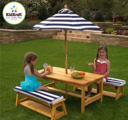 Kidkraft Outdoor Table And Chair Set, Childrens Outdoor Furniture With Umbrella