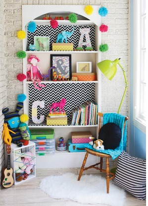 I Thought This Project Using Scrapbook Paper And Mod Podge To Jazz Up A Plain Bookshelf Looked Cute Might Be Something Fun For Nursery Or Play Room