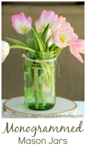 Monogrammed Mason Jars - perfect quick and easy gift idea