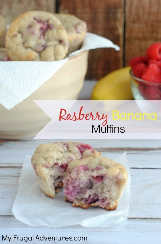 Skinny Banana Raspberry Muffins - easy and delicious!