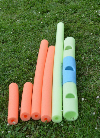 Easy pool noodle goal post- so fun for BBQs, birthday parties or camping
