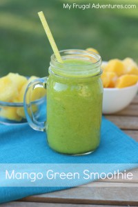 Easy Mango and Pineapple Green Smoothie- so easy and so delicious! Full of vitamin C to prevent colds and flu + a variation that is perfect for kids.
