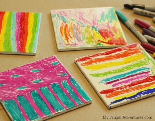 kid made coasters sharpie dyed coasters children s craft my frugal 2273