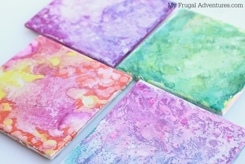 Sharpie Dyed Coasters- easy children's craft project!