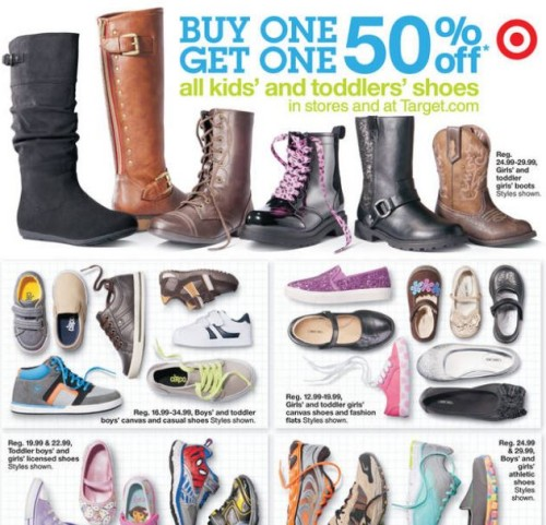 c5a9ef5fafea43 This week the Target ad has children s shoes priced at Buy One Get One 50%  off.