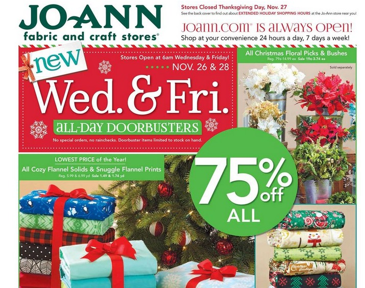here are the black friday deals for joanns it is not a huge ad but there are several highlights the sale starts wednesday and friday with stores opening - Joann Fabrics Christmas Decorations