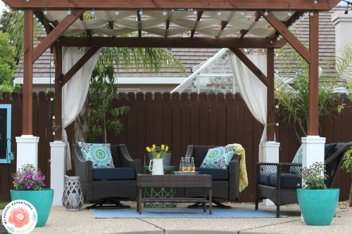DIY pergola. I thought I would post details of what we did, the cost for  the project and how it has held up for us. Ahem. I meant to post last  August. - How To Build A Pergola - My Frugal Adventures